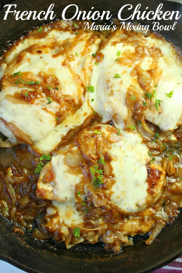 Cheesy French Onion Chicken in skillet