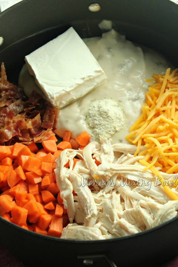soup ingredients in slow cooker