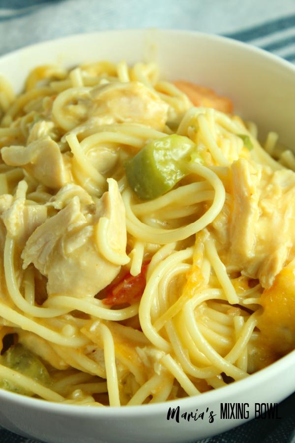 spaghetti in a white bowl