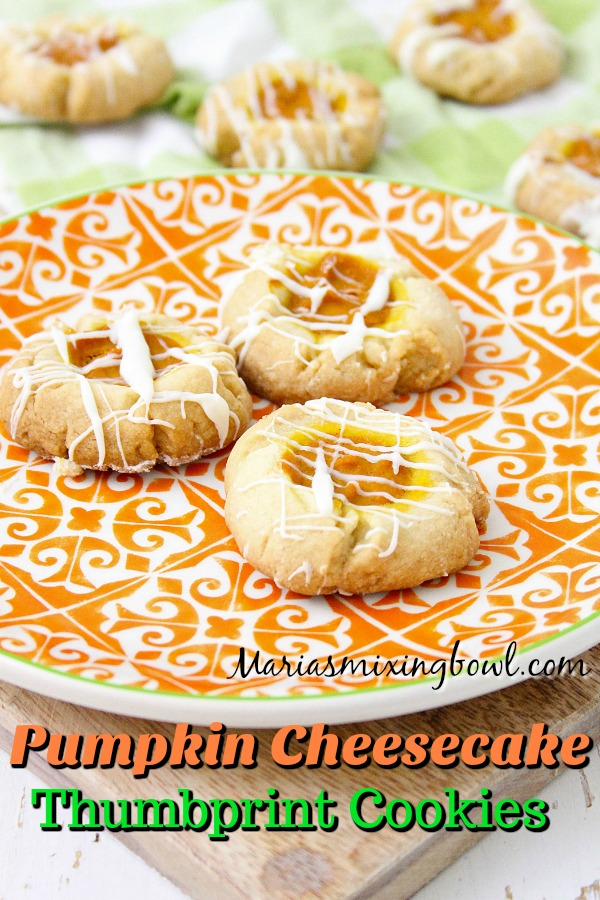 Pumpkin Cheesecake Thumbprint Cookies