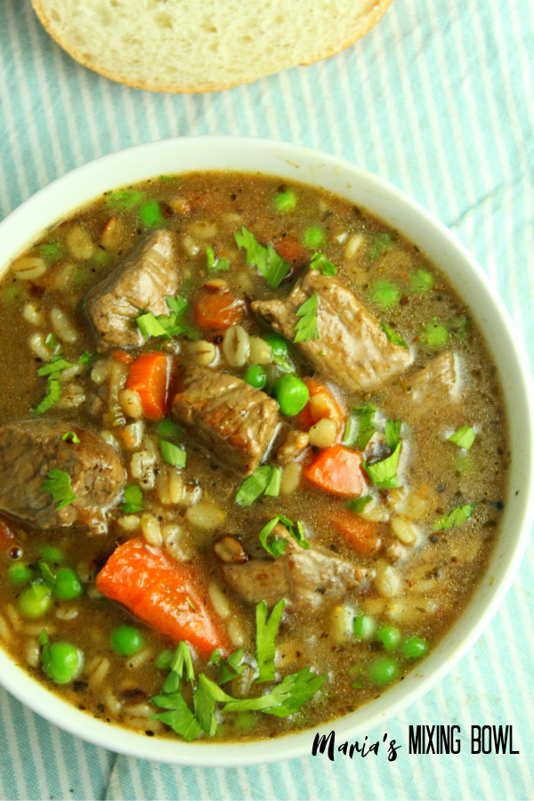 bowl of beef barley soup