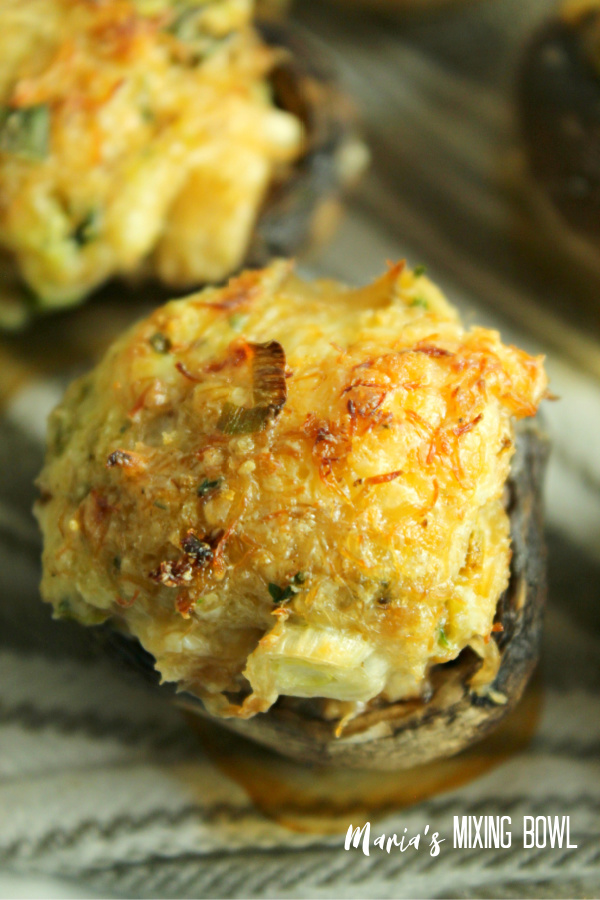 filled mushroom caps with crab meat stuffing