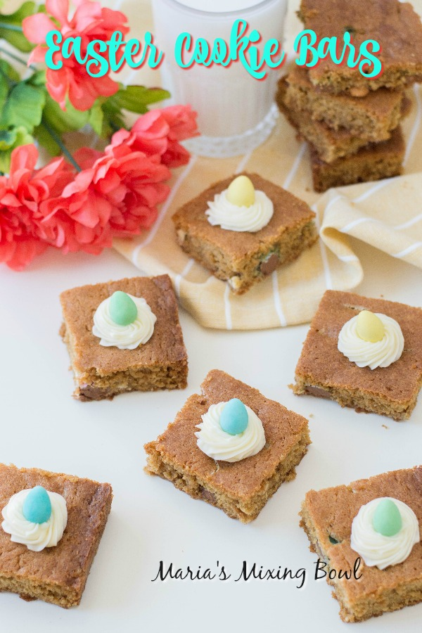 Easter Cookie Bars made with chocolate candy