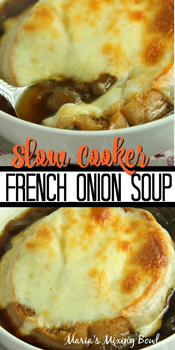 Collage of slow cooker french onion soup with spoon in white bowl at top and soup in white bowl at bottom