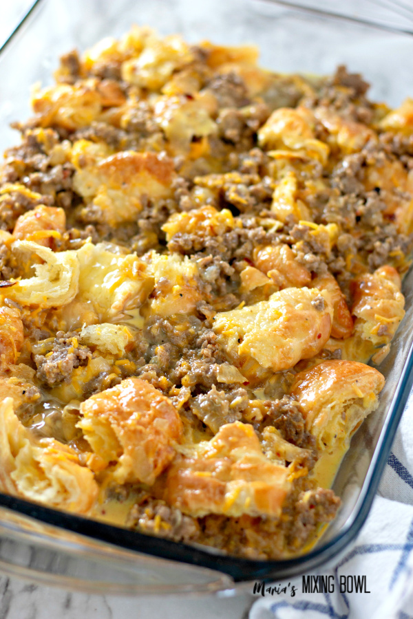 Overnight Croissant Breakfast Casserole Bake with Gravy before baking