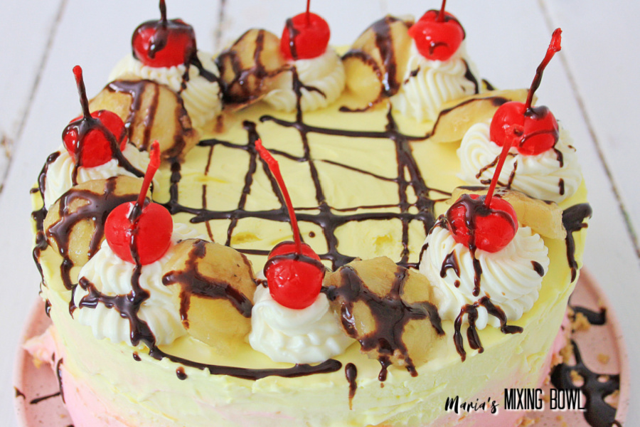 No-Bake Banana Split Cheesecake on pink plate