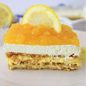 Lemon Icebox Cake on a white plate