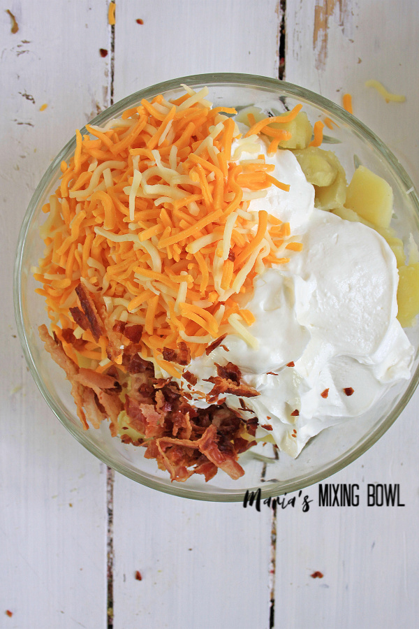 easy Loaded Potato Salad  with cheese bacon sour cream mayo mix