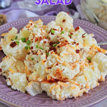 Loaded Potato Salad on a purple plate