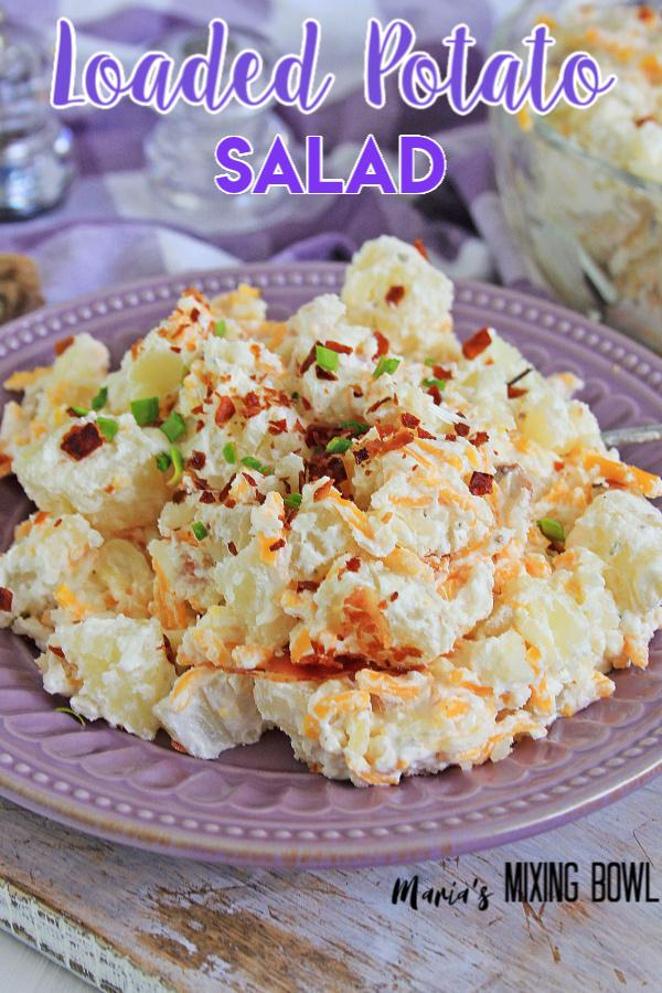 loaded potato salad on a plate