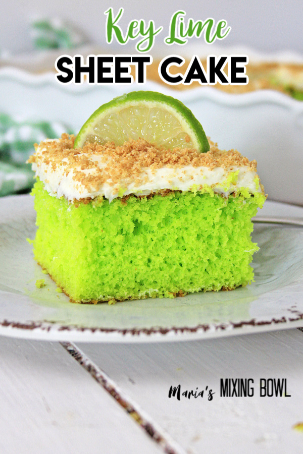 Key Lime Sheet Cake on a white plate