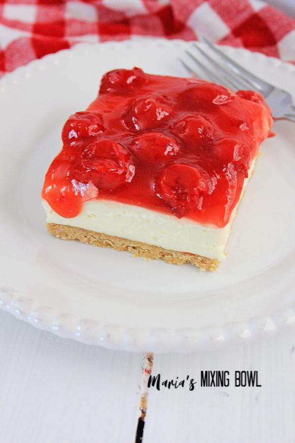 Sweet light and creamy Cherry Cheesecake Icebox Dessert