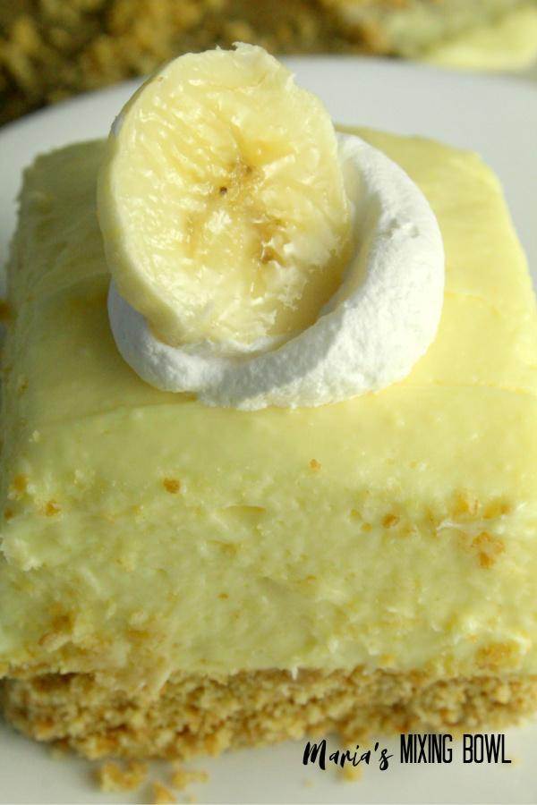 Banana Cream Cheesecake Bars slice are creamy delicious!