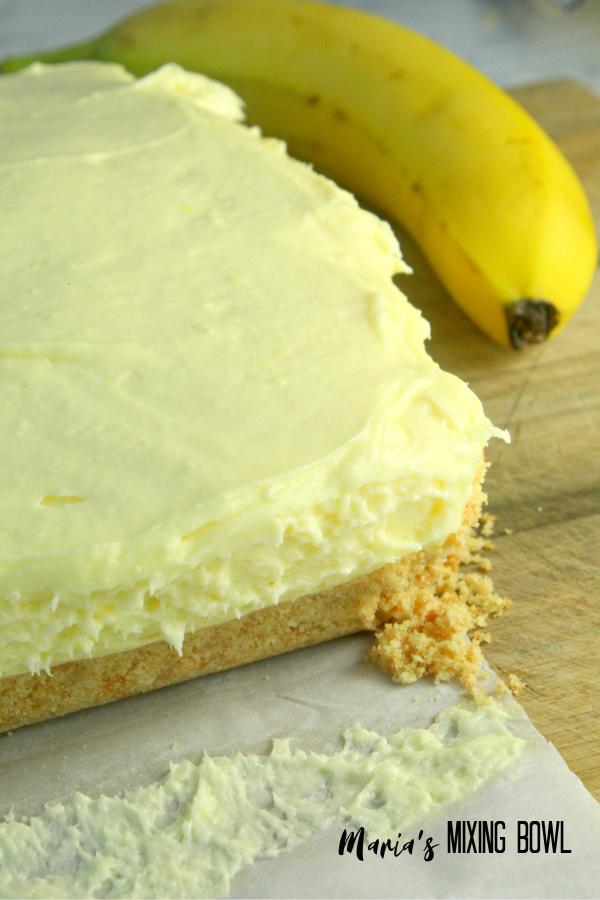 Banana Cream Cheesecake Bars before you slice them!