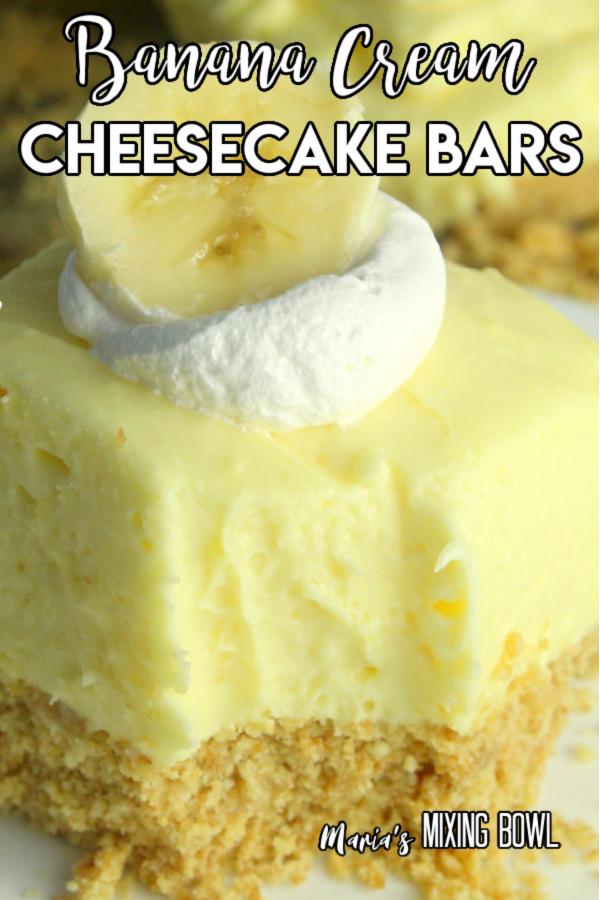 Easy no bake banana cream cheesecake bars