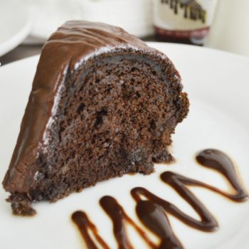 Rich and fudgy Chocolate Pumpkin Bundt Cake with a fudge swirl