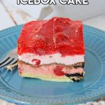 Delicious Cherry Oreo Icebox Cake is cool and refreshing on a pretty blue plate
