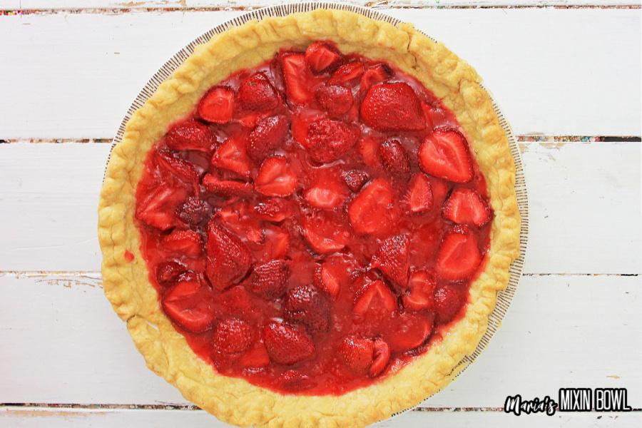 Easy Fresh Strawberry Pie in pie crust.