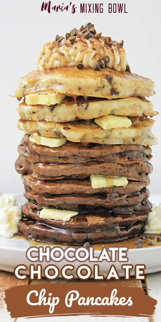 Chocolate Chocolate Chip Pancake Stack with whipped cream tipping