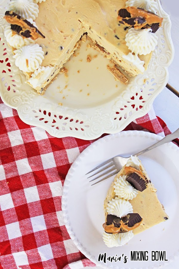 white and red check napkin with cake plate and cake on top a slice is taken from it and in a white dessert dish