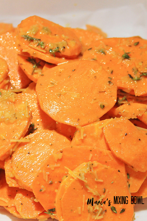 slice sweet potatoes with garlic and thyme