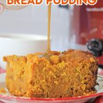 crockpot pumpkin bread pudding dessert with caramel sauce pored over it. white and red checked napkin and red crockpot