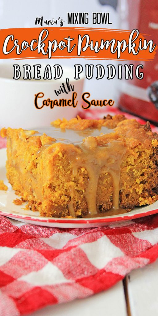 Love using your crock pot for fun fall flavors? You're going to be crazy about this crockpot pumpkin bread pudding! Don't forget to drizzle on the caramel sauce - it's such a tasty fall treat!