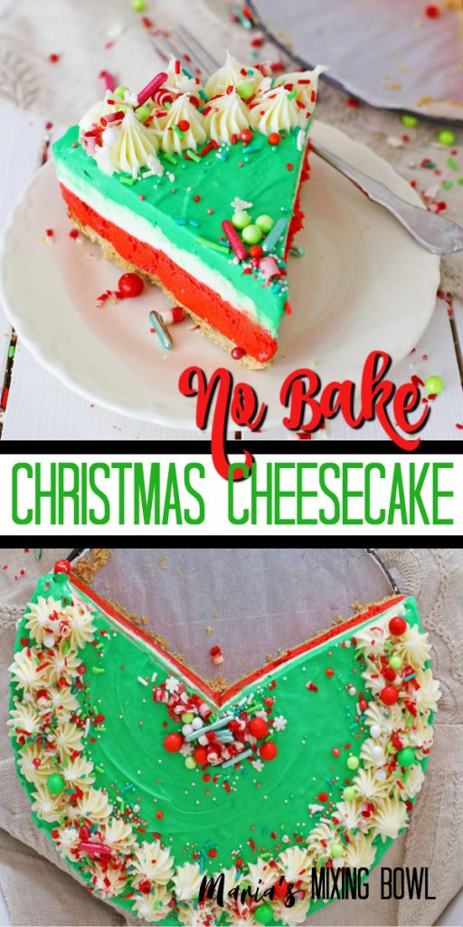 Christmas colored cheesecake on white plate