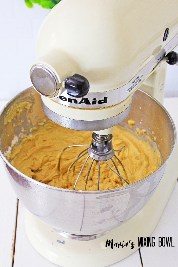 batter in a stand mixer
