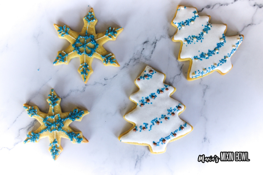 decorated cookies on a marble surface