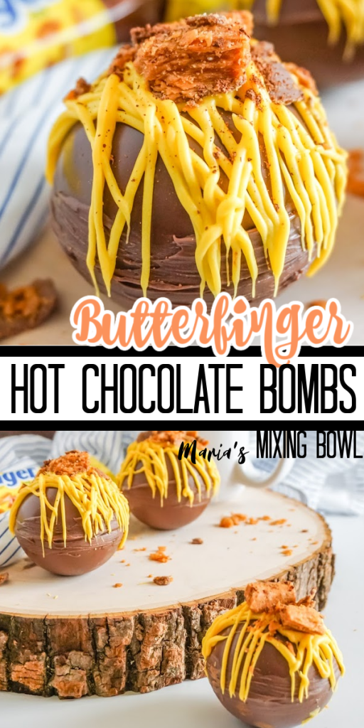 chocolate bombs filled with hot chocolate and butterfinger candy with yellow candy melts and topped with butterfinger
