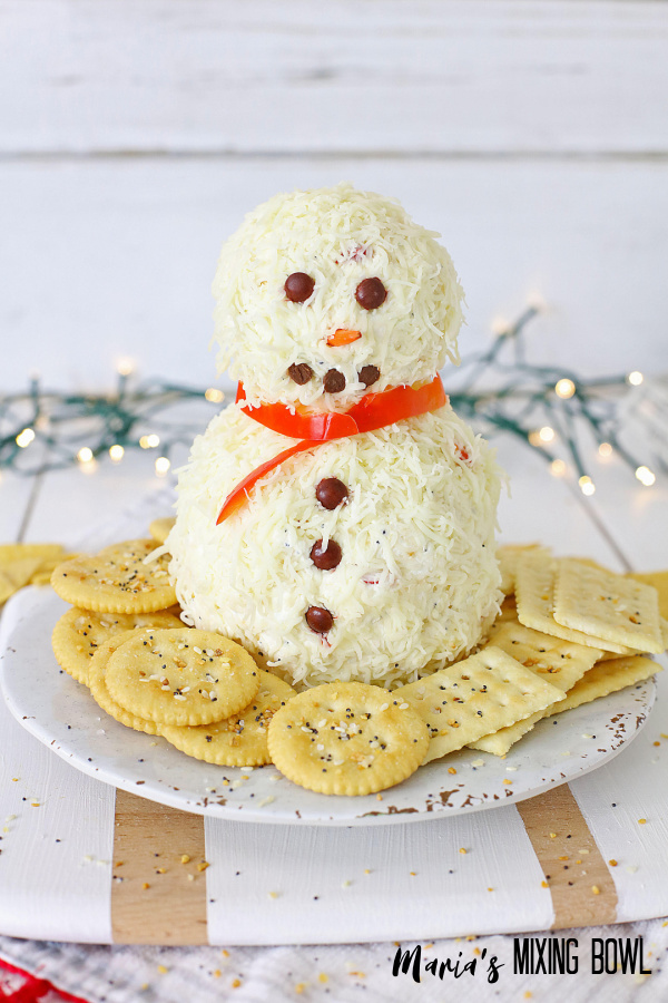 Christmas appetizer with cracckers on a white plate, white lights