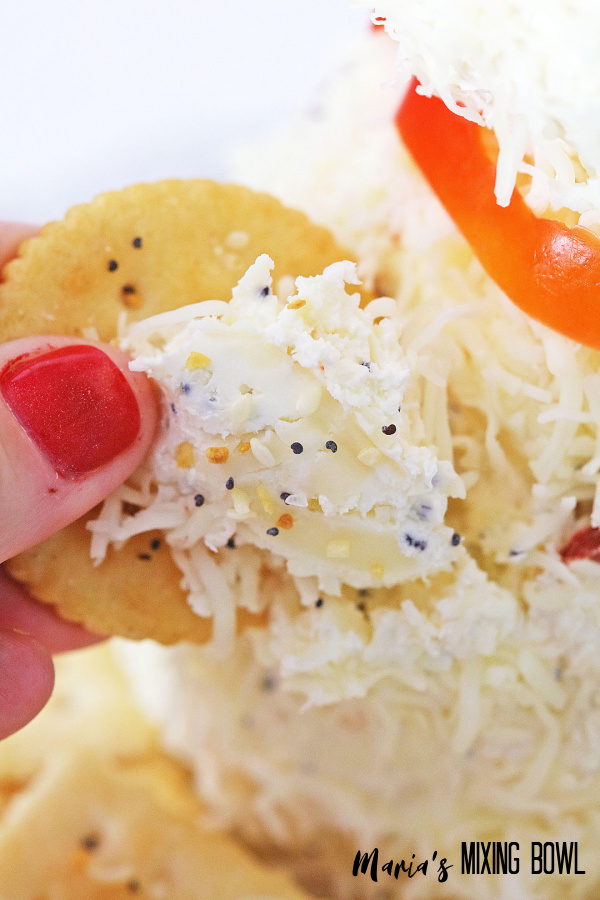 cheese spread on crackers