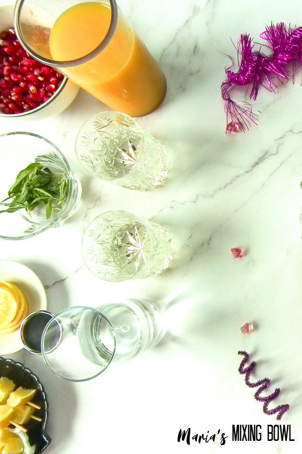 ingredients for cocktail on marble table