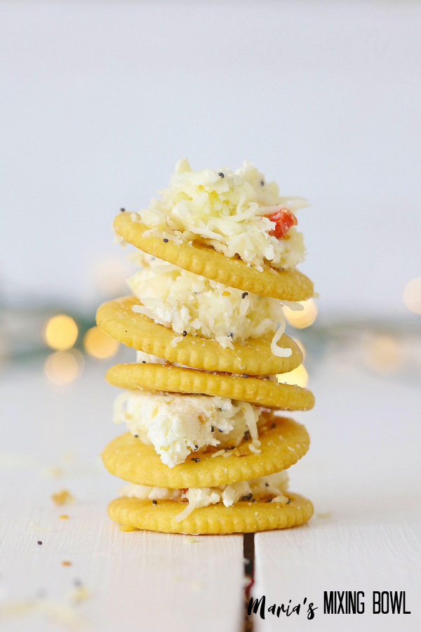 stack of crackers with cheese on them