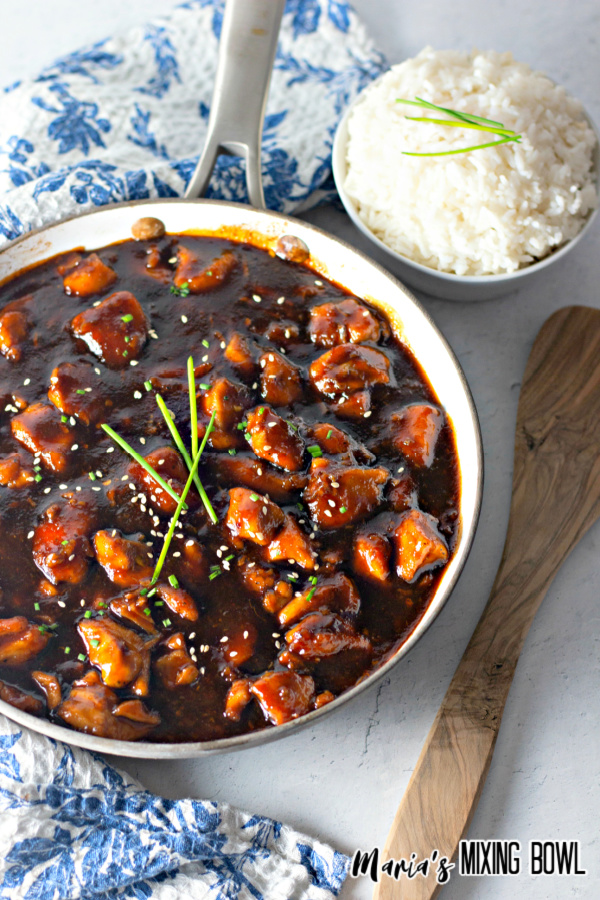 chicken in brown sauce with a bowl of white rice and blue and white napkin
