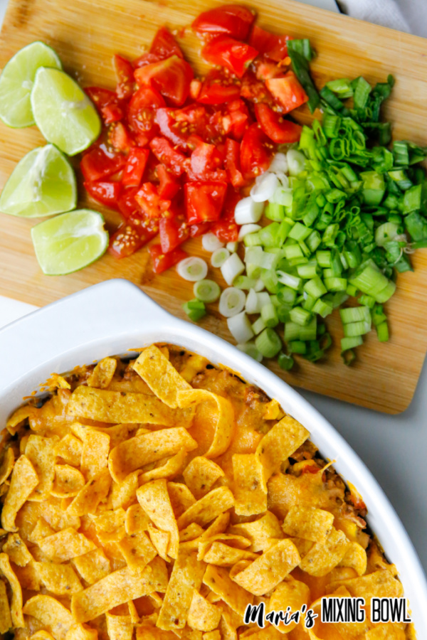 frito pie with tomato lime and scallions