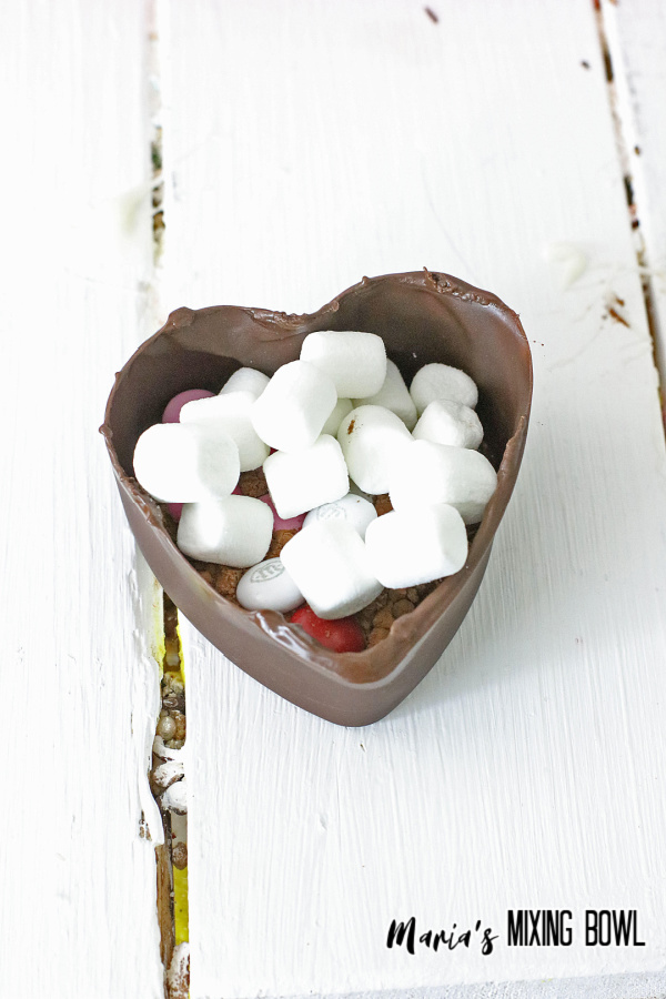 marshmallow with candy in chocolate half heart