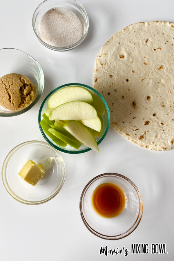 Ingredients for caramel apple wraps.