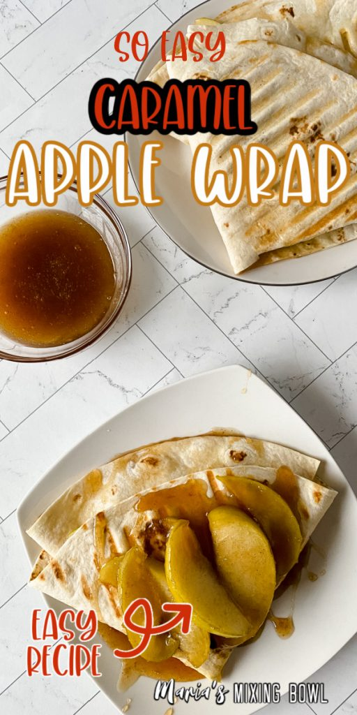 Two plates with caramel apple wraps and extra caramel in bowl.