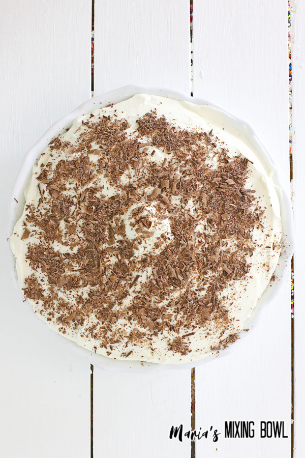 Overhead shot of chocolate layer pie on table