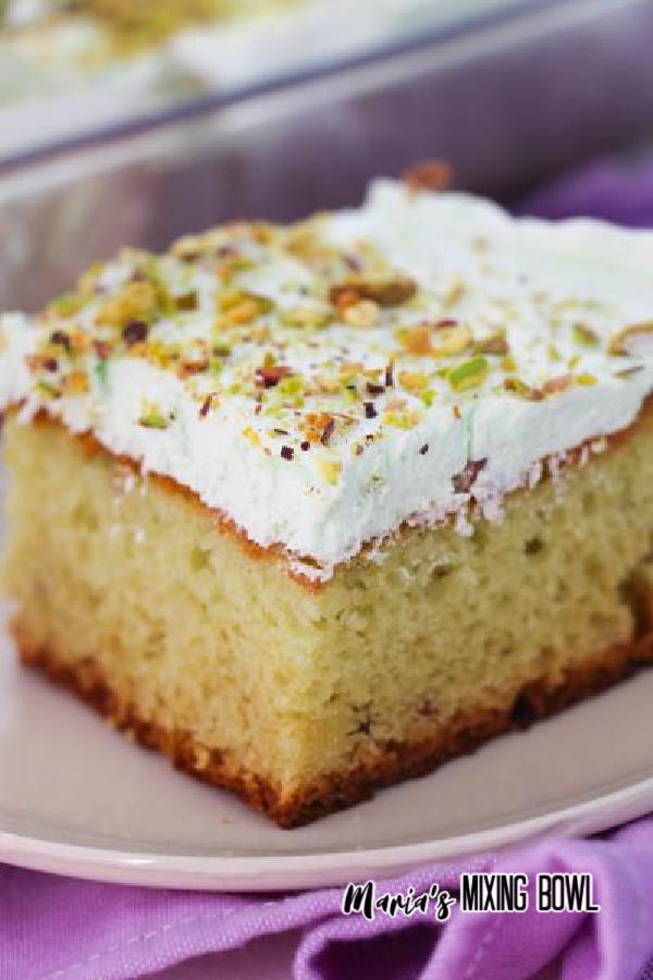 Closeup of cake on white plate.