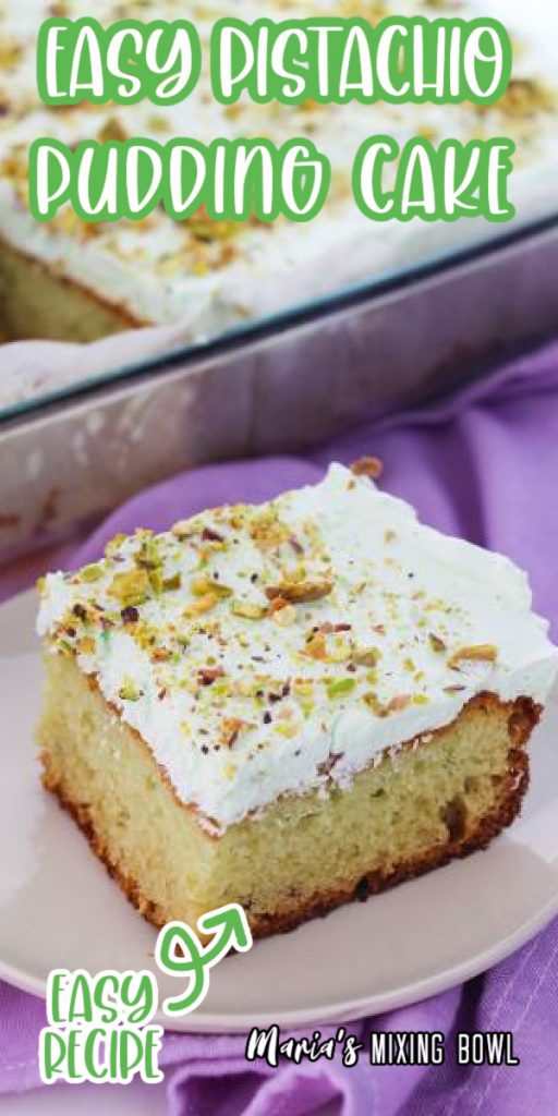 Easty pistachio pudding cake on white plate with more cake in glass baking dish in background.