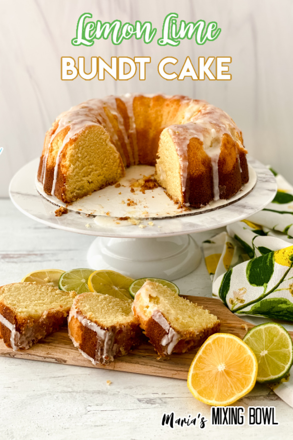 Lemon lime bundt cake with slices removed on cake stand with more slices of cake on cutting board in front