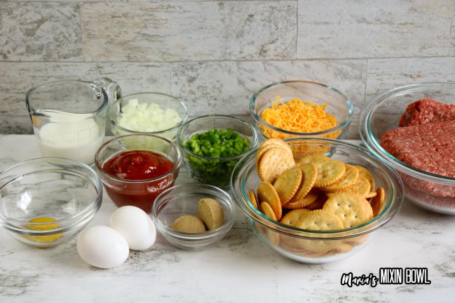 Ingredients for copycat cracker barrle meatloaf on counter