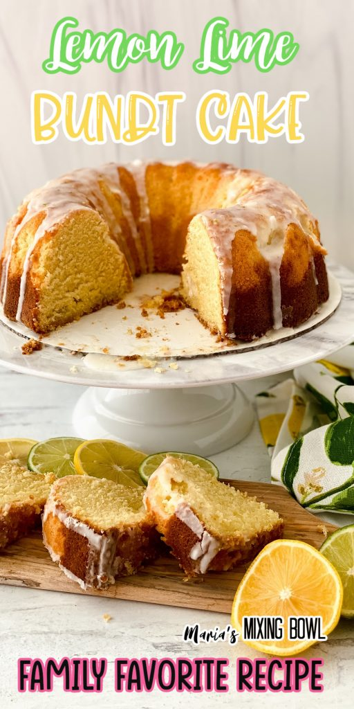 Bundt cake on cake stand with cake slices in front
