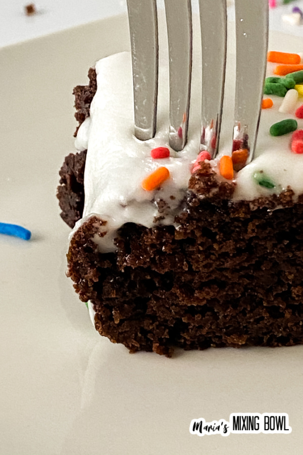 Fork in a piece of cake