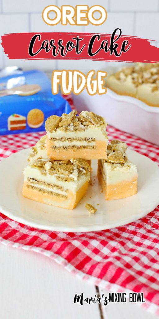 Closeup shot of pieces of carrot cake fudge on white plate with Oreo package in background