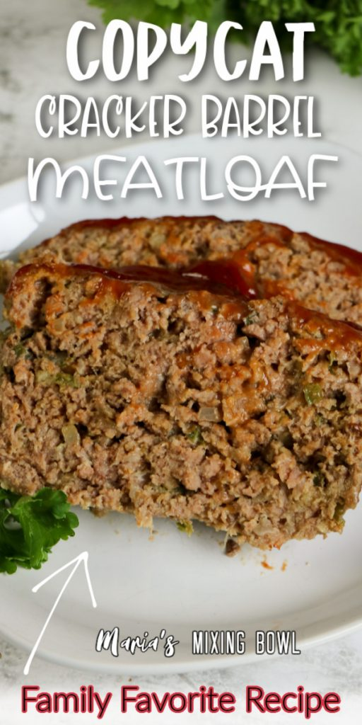 Closeup shot of two slices of meatloaf on white plate