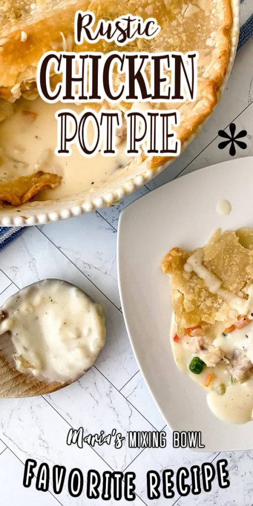 Overhead closeup shot of pot pie in pie plate with scoop removed next to plate with scoop of pot pie